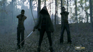 Michonne turned up to the party with a sword, a hood and two pet zombies. Beats a bottle of Frascati anytime