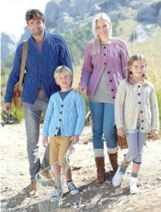 Family in homemade aran cardigans